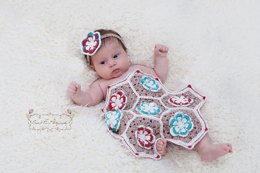 Flower Granny Hexagon Coverlet and Headband