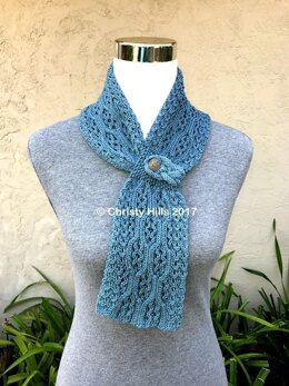 Royal Lace Scarf ( Lace / Cable / Pull-Through / Stay On / Buttoned Scarf Knitting Pattern )