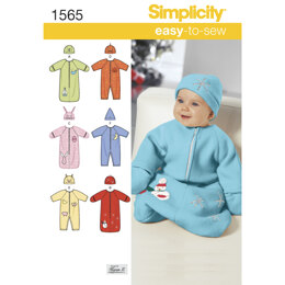 Simplicity Babies' Bunting, Romper and Hats 1565 - Paper Pattern, Size A (XXS-XS-S)