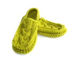 Cabled Slippers, Knit Crochet Slippers
