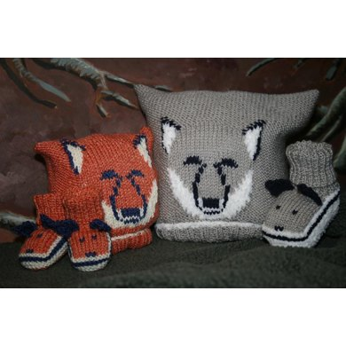 Fox and Wolf Cub Baby Hat and Booties