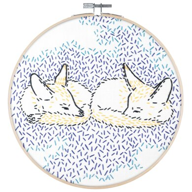 PopLush Dreaming Foxes Embroidery Kit - 8in