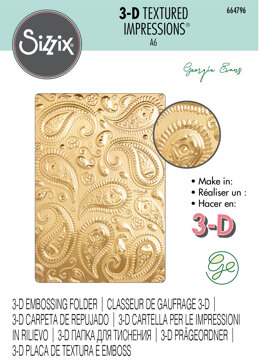 Sizzix 3-D Textured Impressions Embossing Folder - Paisley by Georgie Evans