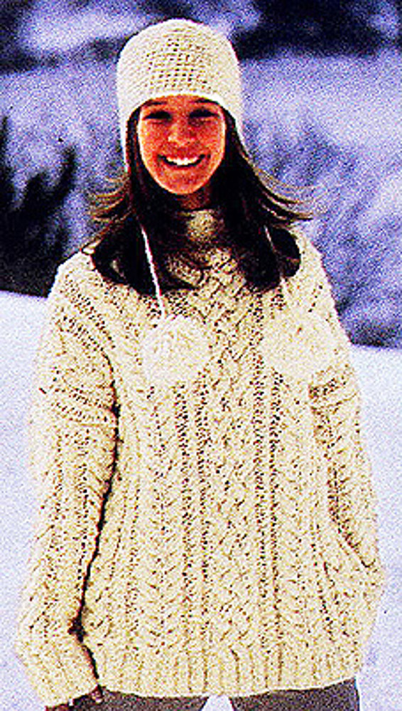 Cable Knit Pullover Sweater In Lion Brand Homespun 723 Knitting