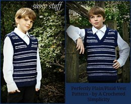 """Perfectly Plaid or Plain"" Older Boys Sweater Vest"
