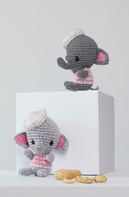 Ellie & Eugene Crochet Elephants in Red Heart Amigurumi - LM6276 - Downloadable PDF