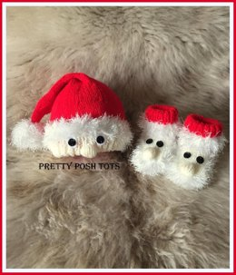 Santa snuggles hat and bootee set