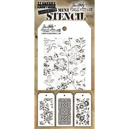 Stampers Anonymous Tim Holtz Mini Layered Stencil Set 3/Pkg - Set #25
