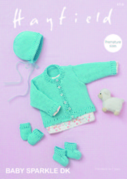 Cardigan, Bonnet, Bootees & Mittens in Hayfield Baby Sparkle DK - 4718 - Leaflet