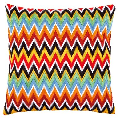 Vervaco Zigzag Lines Long Stitch Cushion Kit - 40 x 40cm