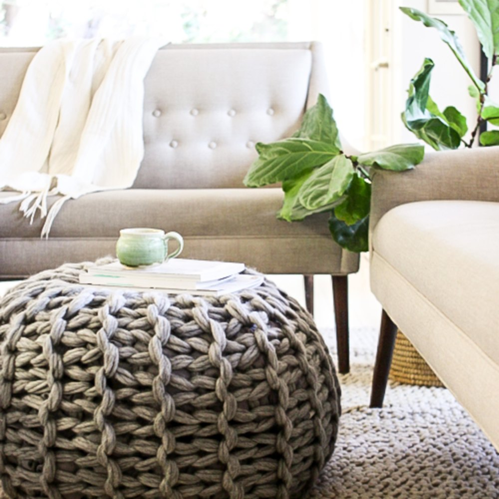 Fabulous floor pouf knitting pattern by anne weil for Floor knitting