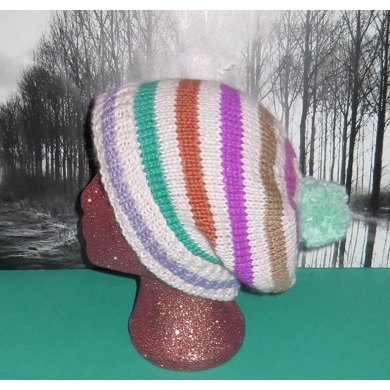 Chunky Stripe Bobble Slouch Hat