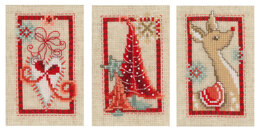 Vervaco Modern Symbols Greetings Cards - Pack of 3 Cross Stitch Kit - 10cm x 15cm