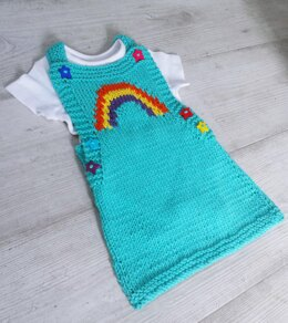 Rainbow Knit Pinafore for baby 0-3 yrs