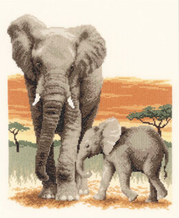 Vervaco Elephant's Journey Cross Stitch Kit - 26cm x 30cm