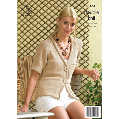 Ladies' Simple Cardigan and Top in King Cole Bamboo Cotton DK - 3164