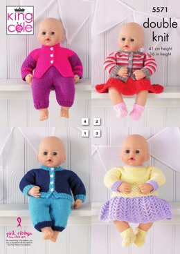 Dolls Clothes in King Cole Dollymix DK - 5571 - Downloadable PDF