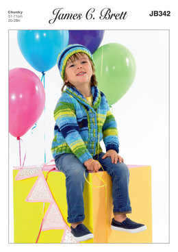 Cardigan and Hat in James C. Brett Party Time Chunky - JB342 - Leaflet