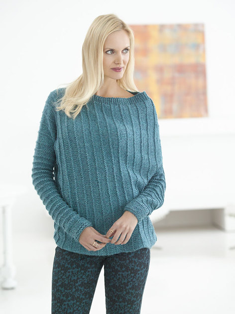 Asymmetric Ribbed Sweater In Lion Brand Heartland L32181