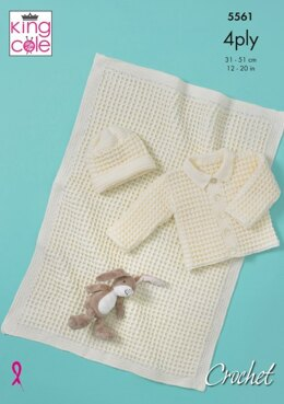 Baby Jacket, Hat and Blanket in King Cole Big Value Baby 4 Ply - 5561 - Leaflet