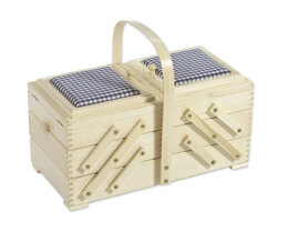 Cantilever Sewing Box with Blue Check Pin Cushions, Beech Wood