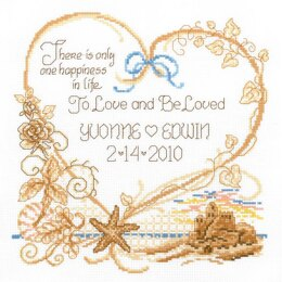 Imaginating Counted Cross Stitch Kit Seaside Wedding Record (14 Count) - 7.5in x 8in