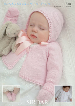 Cardigans, Bonnet, Mittens and Bootees in Sirdar Snuggly 4 Ply 50g - 1818 - Downloadable PDF