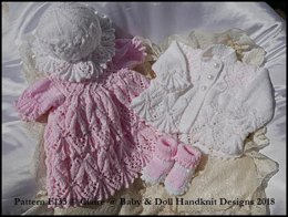 """Leaves and Bobbles Dress Set 16-22"""" doll or preemie-3m+ baby"""