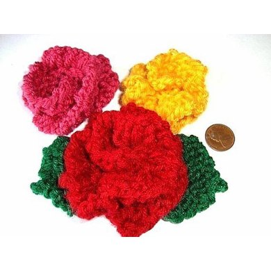 085, KNITTED ROSE APPLIQUE