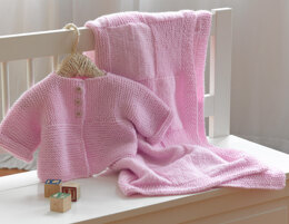 Knit Baby Set in Lion Brand Pound Of Love - L10451
