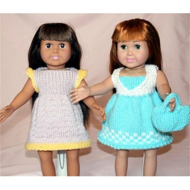 Country Summer Dresses, Knitting Patterns fit American Girl and other 18-Inch Dolls