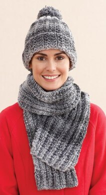 Rustic Ribbed Hat And Scarf In Lion Brand Tweed Stripes L0611e