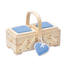 Sewandso Sewing Box with Blue Pin Cushion Lids and Heart, Beech Wood