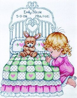 Design Works Bedtime Prayers Girl Sampler Cross Stitch Kit - 28cm x 35.5cm