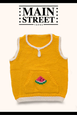 Berry Watermelon Vest in Main Street Yarns Shiny + Soft - Downloadable PDF