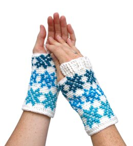 Falling Snowflakes Mitts
