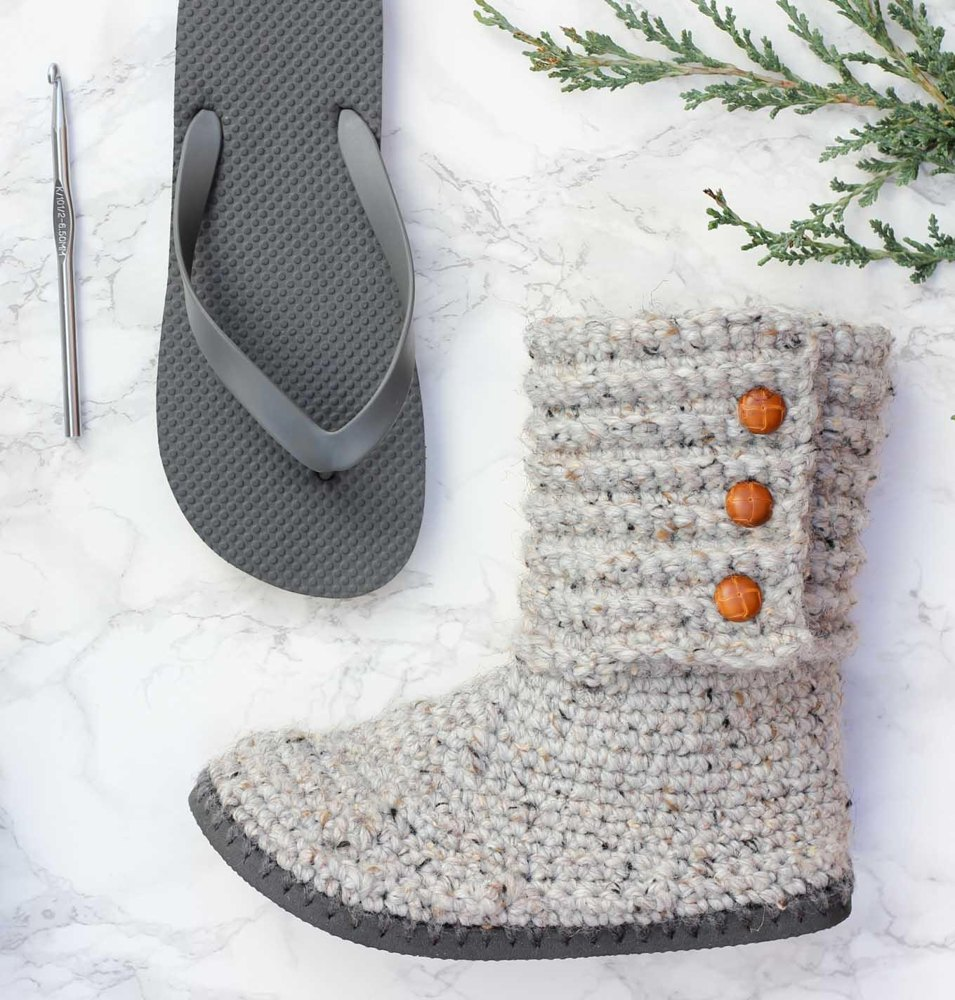 Cabin Boots With Flip Flop Soles Crochet Pattern By Jess Coppom