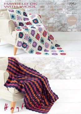 Crocheted Afghan Blankets in Hayfield DK with Wool - 7257