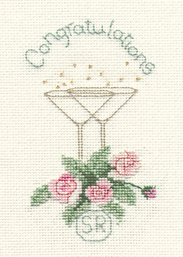 Derwentwater Designs Rose and Champagne Greeting Card Cross Stitch Kit