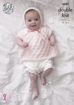 Angel Top, Cardigan, Bonnet & Blanket in King Cole DK - 4689 - Downloadable PDF