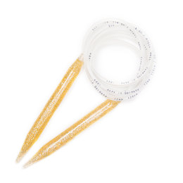 Addi Gold-Glitter Fixed Circular Needles - 120cm