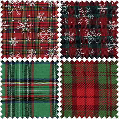 Trimits Tartan Fat Quarter Bundle - Green Christmas