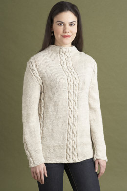Cabled Sweater in Lion Brand Wool-Ease - 60804AD