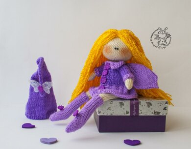 Lilac fairy dreams doll knitted flat
