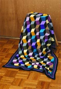 New Tumbling Blocks Afghan in Lion Brand Wool-Ease