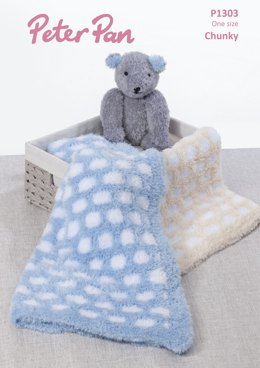 Honeycomb Blanket & Teddy Bear in Peter Pan Precious Chunky - P1303 - Downloadable PDF