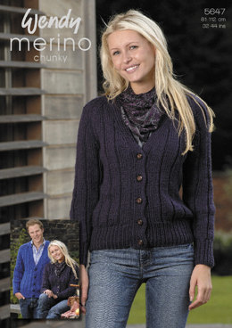 Ribbed Cardigan in Wendy Merino Chunky and Mode Chunky - 5647