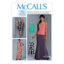 McCall's Misses' Knit Tank Top, Dresses and Skirts M7386 - Sewing Pattern