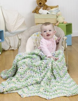 Blissful Baby Afghan in Red Heart Soft Baby Steps Prints - WR1866