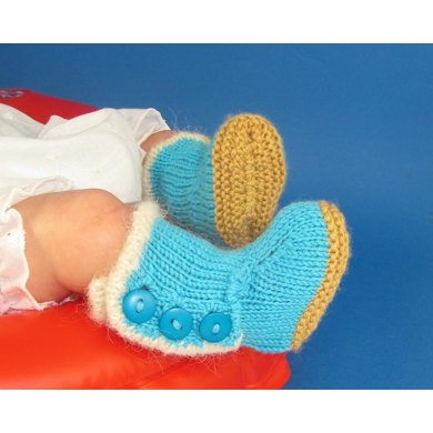 Baby Fur Trim 3 Button Booties (Bootees)